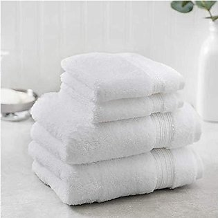 4 PC Washcloth Towel Set  2 Hand Towels and 2 Wash Cloths (White)