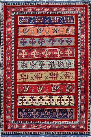 3 by 5 ft Multi color area rugs and carpets   Sarjan Soumak, a hand-knotted rug