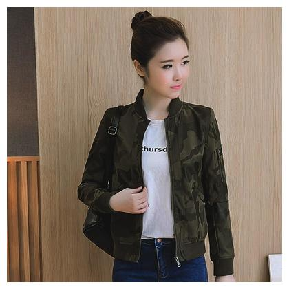 Women Stand Collar Long Sleeve Zipper Camouflage Printed Bomber Jacket