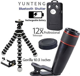 12x Lens Blur Like DSLR & Zooming Lens With Small Gorilla Tripod - Mobile holder