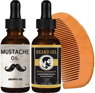 Pro-Men's Beard & Mustache Growth Oil With Wooden Comb