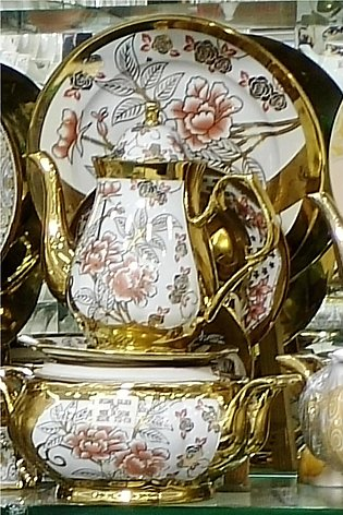 75 Pieces - Full Gold Cheeni Dinner Set For Dining