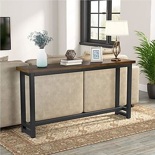 60 Inches Extra Long Industrial Sofa Table Wood Behind Couch Table Rustic Conso…