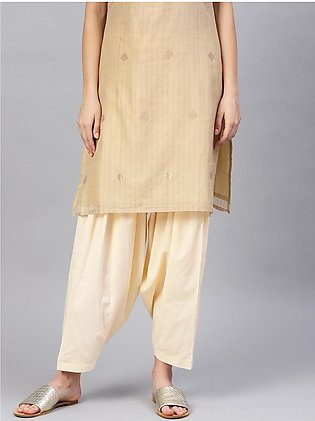 The-ajmery Cream Colored Cotton Solid Pleated (patiyala) Shalwar, Box Pleated T…