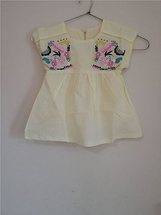 Yellow Cotton Embroidery Shirt For Baby Girl