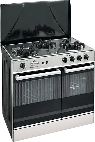 Welcome 3 Burner 34 Gas Cooking Range Wc-666 - Black And Grey