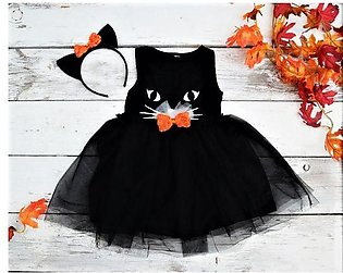 Black Cat Frock For Baby Girl With Free Headband