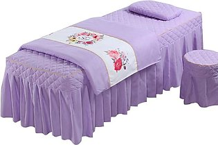 4-Piece Beauty Bed Massage Table Set - Soft Cotton Facial Bed Cover - Includes …