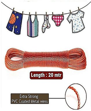 Heavy Duty Wet Cloth Laundry Rope Pvc Coated Metal Cloth Drying Wire - 20 Metre…
