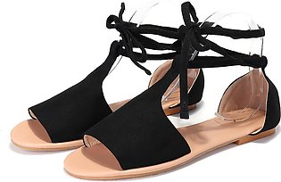Fashion Women Summer Flat Sandals T-Strap Opened Toe Ankle Strap Casual Shoes