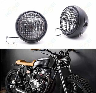 Retro Round Motorcycle Headlight Amber Lens Lamp For Bobber Chopper 5.75'' Inch