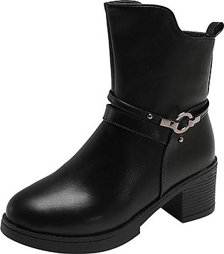 Women Wedges Buckle Strap Leather Middle Boots Boots Shoes Ankle Boot