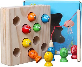 Children Wooden Toys Magnetic Games Fishing Toy Game Kids 3D Fish Baby Kids Edu…