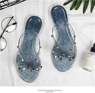 Women Studded Lace Bow Flip Flop Footbed Jelly Sandals Beach Sports Slippers Fl…