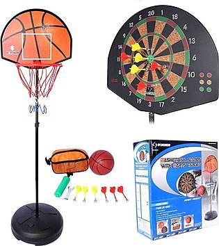 Basketball Board Net & Stand With Dart Targets - Red & Black