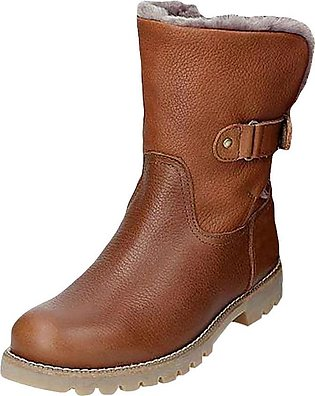 Women Pure Color Round Toe Slip-On Square Heels Vintage Boots