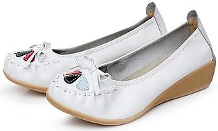 Fashion Women Leather Bowknot Floral Slip On Flat Casual Soft Shoes