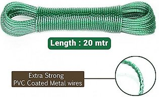 Heavy Duty Wet Cloth Laundry Rope PVC Coated Metal Cloth Drying Wire - 20 metres