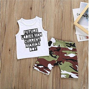 Baby Boy Letter Printed Vest Tops Camouflage Shorts Clothes Set