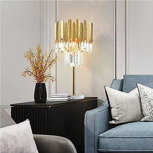 Table Lamp Crystal Strips Brass