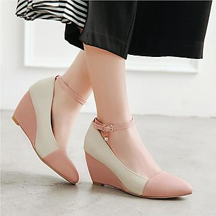 Fashion Office Lady Pointed Toe Ankle Strap Wedge Heel Shoe Pumps Plus Size Shoe