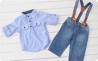 New Boy Lapel Shirt + Jeans With Detachable Stretch Strap Three-Piece Set Of Ch…