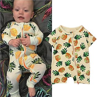Children'S Summer Boys And Girls Short Sleeves Fruit Pineapple Jumpsuit Crawl C…
