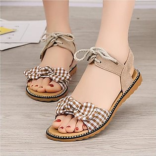Fashion Women's Flat-Bottomed Student Sandals Bow Beach Shoes Ladies' Sandals
