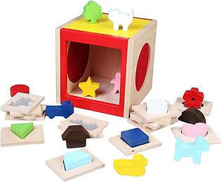 Educational Wooden Toy Geometric Shape Color Box Early Learning Baby Kids Birth…