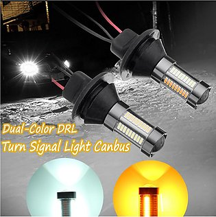 2 x 66 LED 4014 SMD 1156 BAU15S  Dual-Color Switchback DRL Turn  Light Canbus