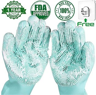 Dishwashing Cleaning Gloves Magic Silicone Rubber Dish Washing Glove for Househ…