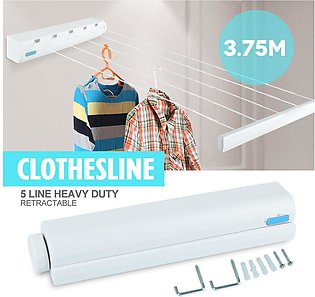 Clothesline 3.75m ABS Rope Roll Up Auto Washing 5 Lines Indoor Retractable Clot…
