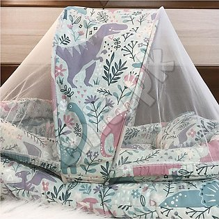 Best Quality White Super Soft Baby Bed With 1 Pillow Mosquito Net In Multi-Colo…