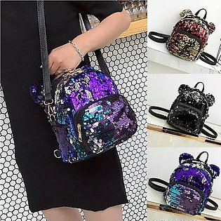 Glitter Sequinsmini  Backpack Teenage Girls Bling Rucksack Students School Bag