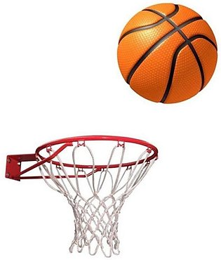 Pack of 2 - Skratch Basket Ball With Net - Orange & White