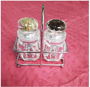 2 pieces Crystal Salt And Pepper Shakers Salt Dispenser Namak Dani with Stand