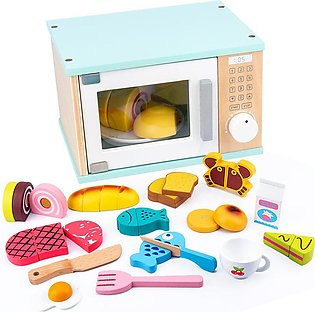 18PCS Wooden ulation Micro wave Oven Baking Tool Game Mixer Kitchen Character T…