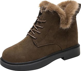 Women Solid Color Square Heel Lace-Up Suede Snow Round Toe Shoes Boots