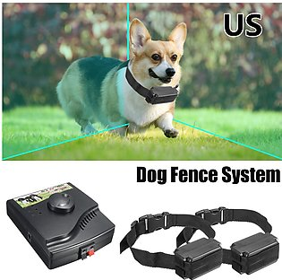 US / EU -- Electric Puppy Pet Dog Fence System 2 Shock Collars Hidden In-Ground…