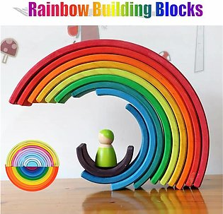 Wooden rainbaw Stacker Building Blocks Stacking Nesting Toys For Baby Toddlers