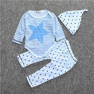Five-Pointed Star Stripe Baby Little boy Long Sleeves Trousers Hat Suit