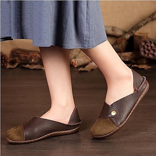 SOCOFY Women Retro Splicing Color Match Pattern Soft Flat Leather Shoes Loafers
