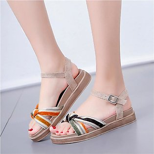 Summer Ladies Sandals Buckle Flat With Retro Roman Sandal Bow Fish Mouth Sandals