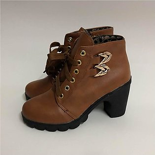 ✫Good Quality✫  Women Pure Color Square Heel Lace-Up Suede Boots Retro Boots Ro…