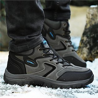 Couple Suede Keep Warm Sport Non-Slip Shoes Lace-Up Run Mountaineering Sneakers