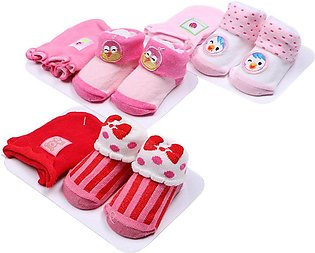 3 Packs Cute Newborn Baby Toddler Unisex Boy Girl Anti-slip Warm Socks-Multi-co…