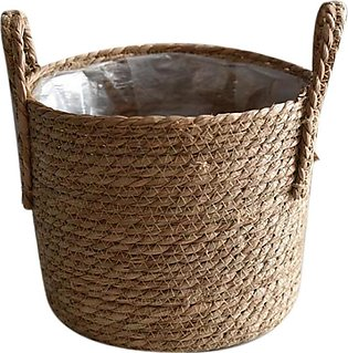 Straw Storage Basket Rattan Floor Flower Pot Crafts Decoration Modern Home Livi…