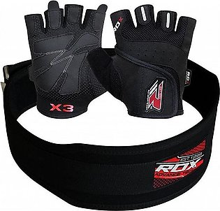 Pack of 3 : Leather Training Belt  with Gym Gloves & Wrist Band - Black