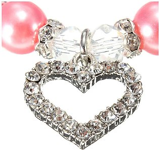 Pet Dog Pearls Necklace Collar with Crystal Heart Charm Pendant