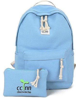 2PCS/SET Women Canvas Backpack Casual Teenage Girls Students School Bag